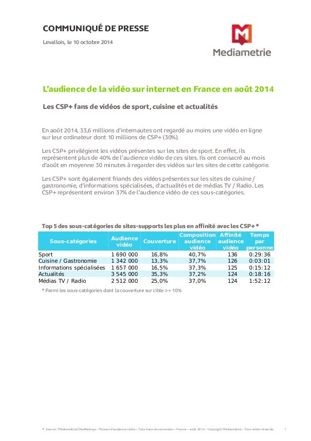 L'audience de la video sur internet en france - Aout 2014 - Mediametrie