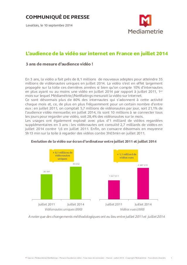 COMMUNIQUÉ DE PRESSE L'audience de la vidéo sur internet en France en juillet 2014 3 ans de mesure d'audience vidéo ! Leva...