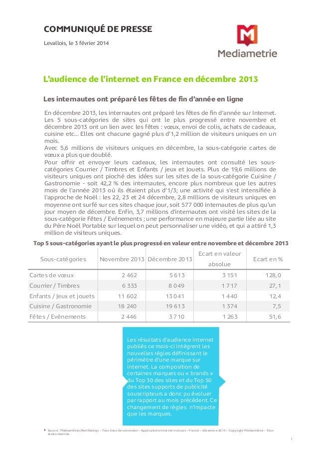 COMMUNIQUÉ DE PRESSE Levallois, le 3 février 2014  L'audience de l'internet en France en décembre 2013 Les internautes ont...