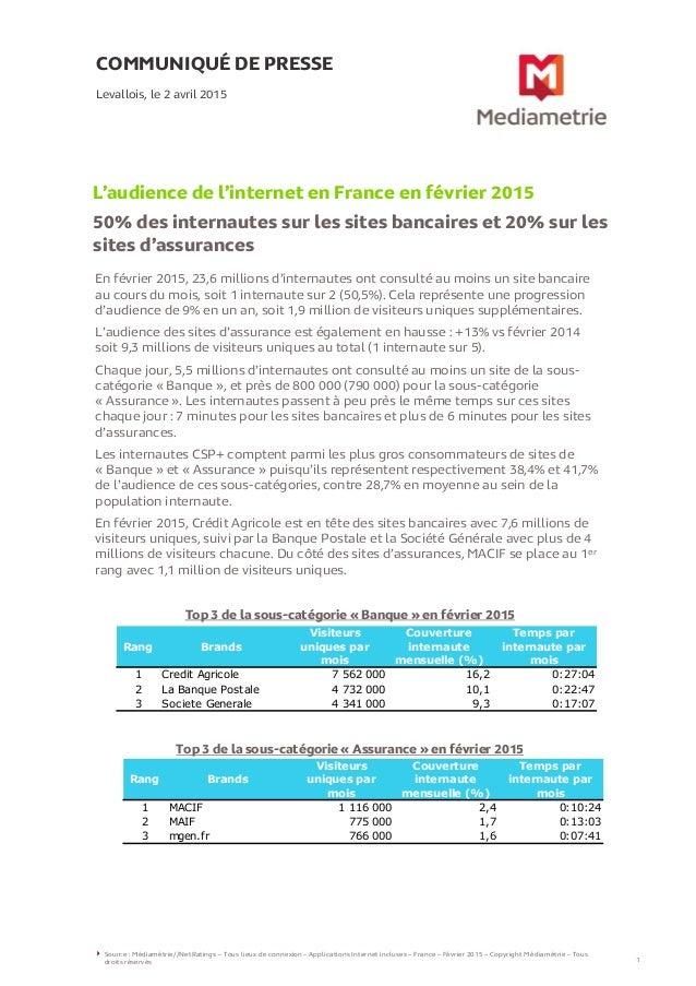 En février 2015, 23,6 millions d'internautes ont consulté au moins un site bancaire au cours du mois, soit 1 internaute su...