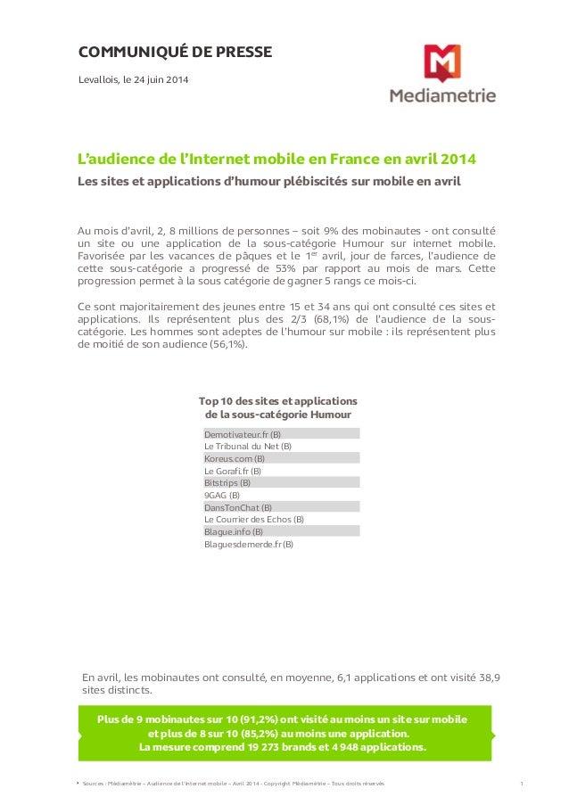 L'audience de l'internet mobile - Avril 2014 - Médiamétrie