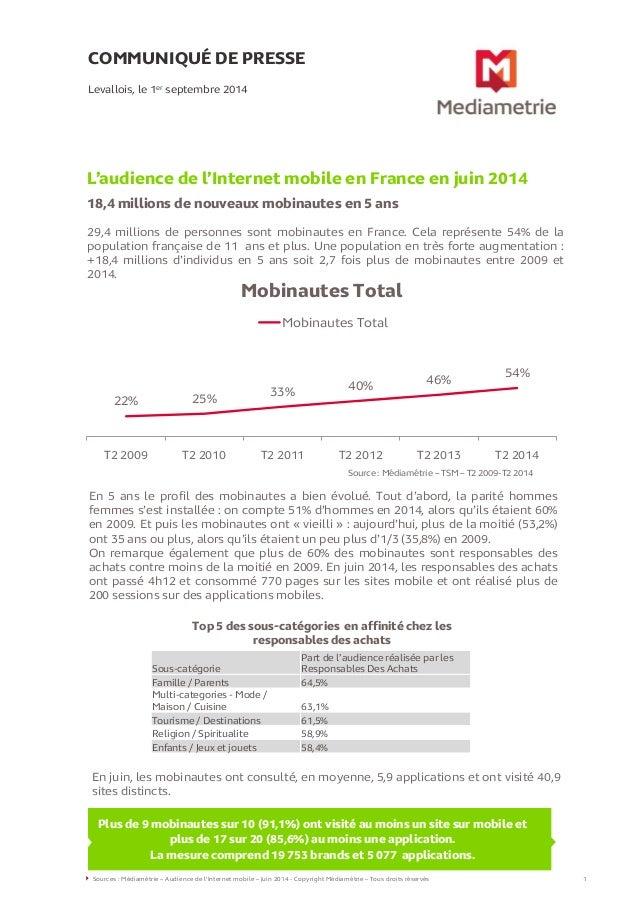 COMMUNIQUÉ DE PRESSE L'audience de l'Internet mobile en France en juin 2014 18,4 millions de nouveaux mobinautes en 5 ans ...