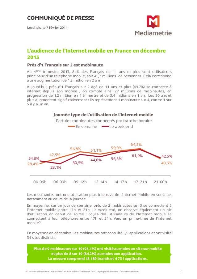 COMMUNIQUÉ DE PRESSE Levallois, le 7 février 2014  L'audience de l'Internet mobile en France en décembre 2013 Près d'1 Fra...