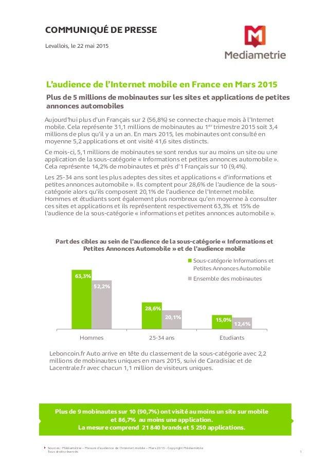 COMMUNIQUÉ DE PRESSE L'audience de l'Internet mobile en France en Mars 2015 Plus de 5 millions de mobinautes sur les sites...