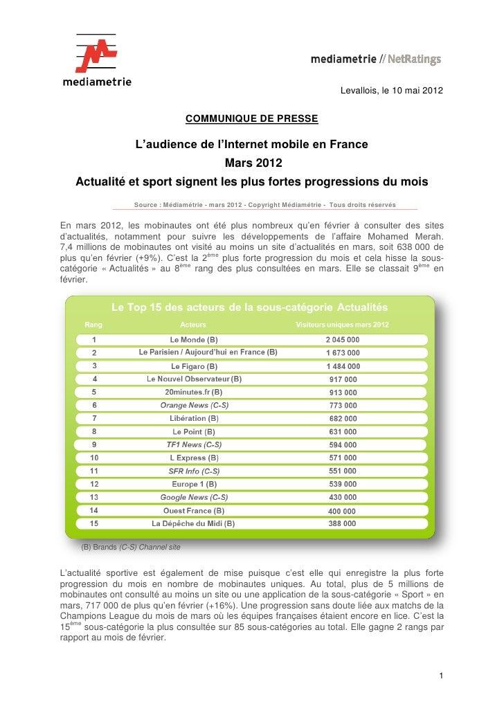 L'audience de l'internet mobile en france - Médiamétrie - Mars 2012