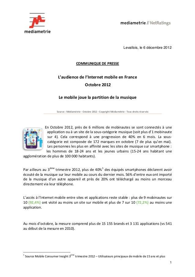 Levallois, le 6 décembre 2012                                             COMMUNIQUE DE PRESSE                           L...