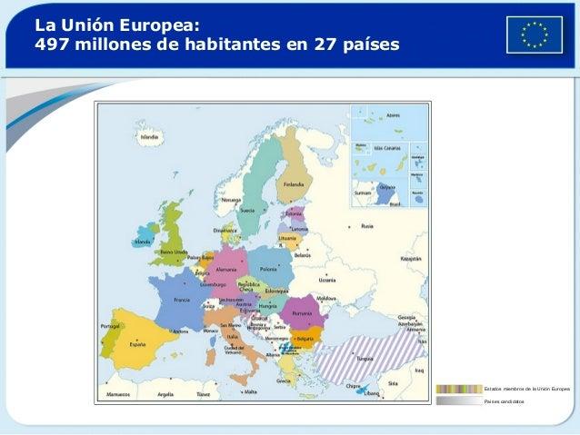 La Unión Europea:497 millones de habitantes en 27 paísesEstados miembros de la Unión EuropeaPaíses candidatos