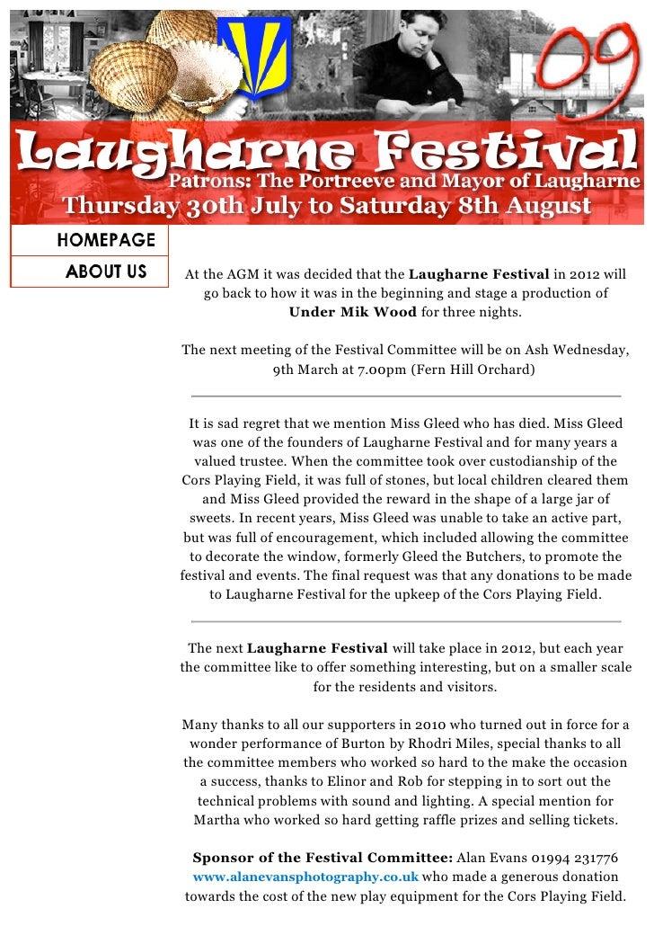 LAUGHARNE FESTIVAL NEWS