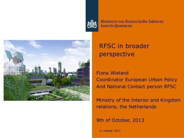 RFSC & EU Urban Agenda: a view from the Netherlands