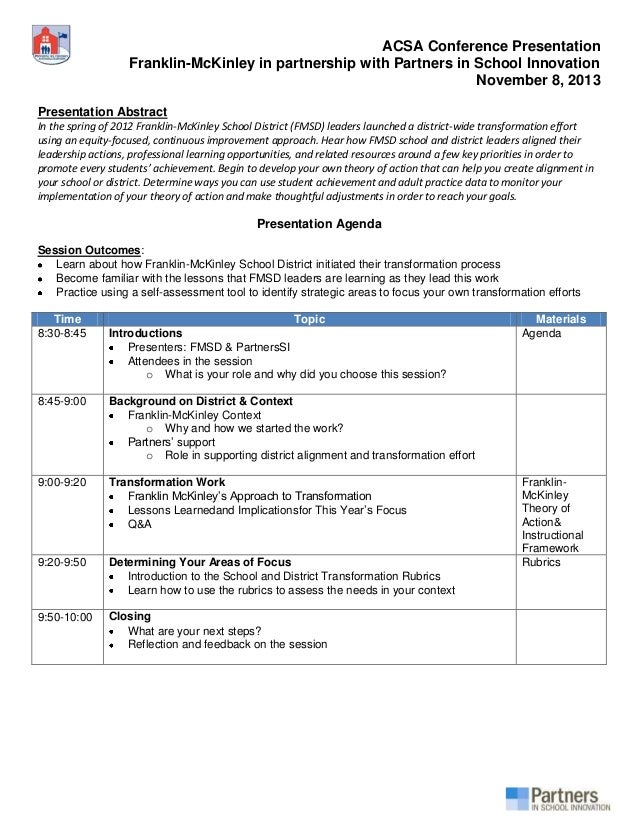 ACSA Conference Presentation Franklin-McKinley in partnership with Partners in School Innovation November 8, 2013 Presenta...