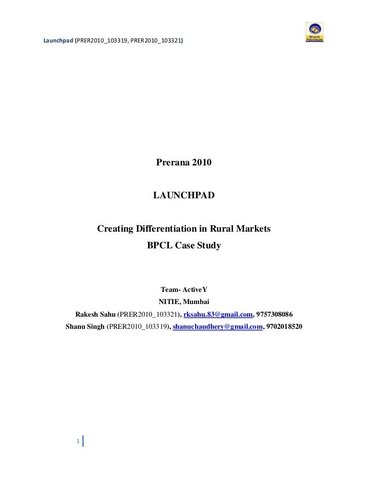 BPCL Casestudy Solution - Launchpad 2010