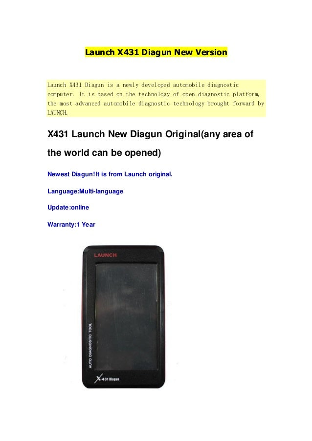 Launch X431 Diagun New Version  Launch X431 Diagun is a newly developed automobile diagnostic computer. It is based on the...
