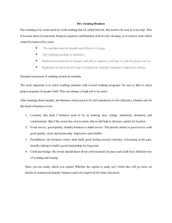Business plan for laundry business sample