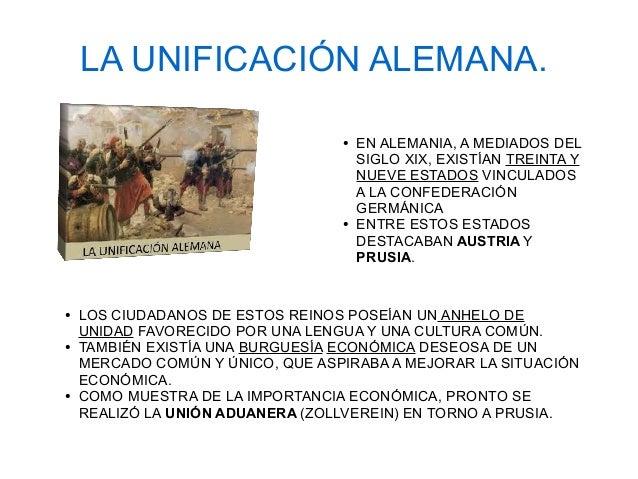 LA UNIFICACIÓN ALEMANA. ● EN ALEMANIA, A MEDIADOS DEL SIGLO XIX, EXISTÍAN TREINTA Y NUEVE ESTADOS VINCULADOS A LA CONFEDER...
