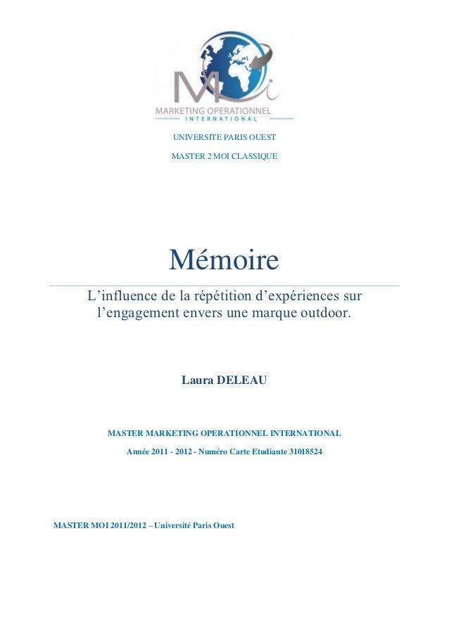UNIVERSITE PARIS OUEST                             MASTER 2 MOI CLASSIQUE                             Mémoire        L'inf...