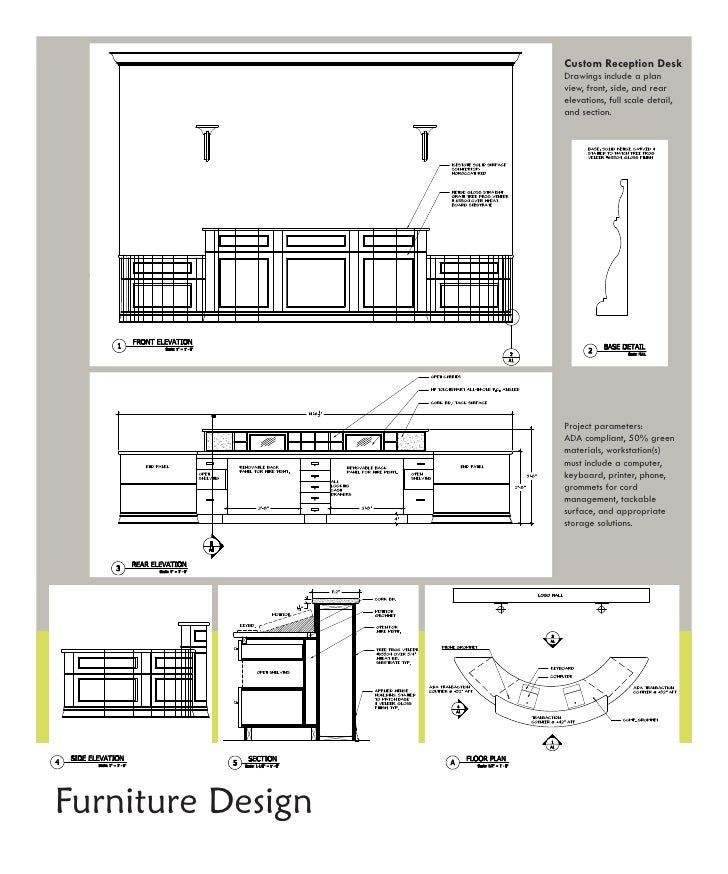 Reception Desk Section Detail Drawing Custom Reception Desk Drawings