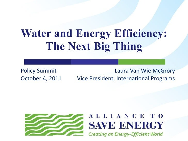 Water and Energy Efficiency: The Next Big Thing