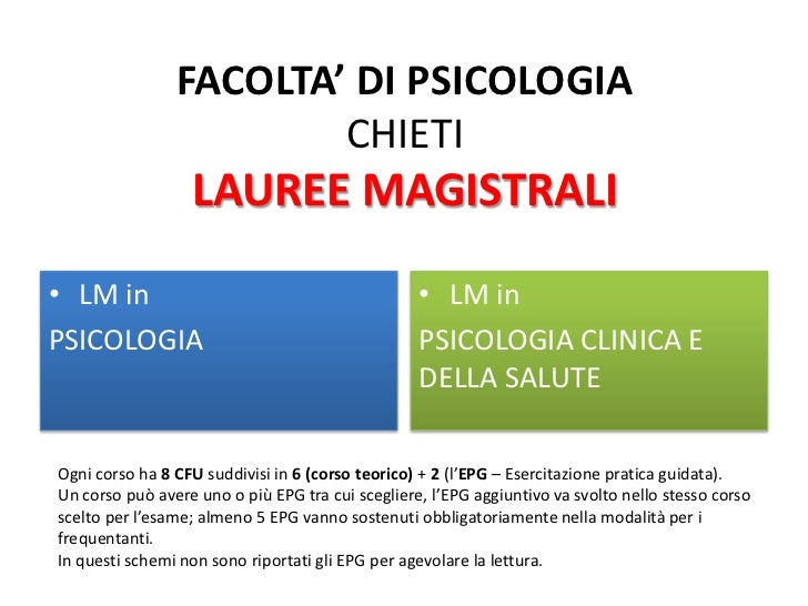 FACOLTA' DI PSICOLOGIA                        CHIETI                  LAUREE MAGISTRALI• LM in                            ...