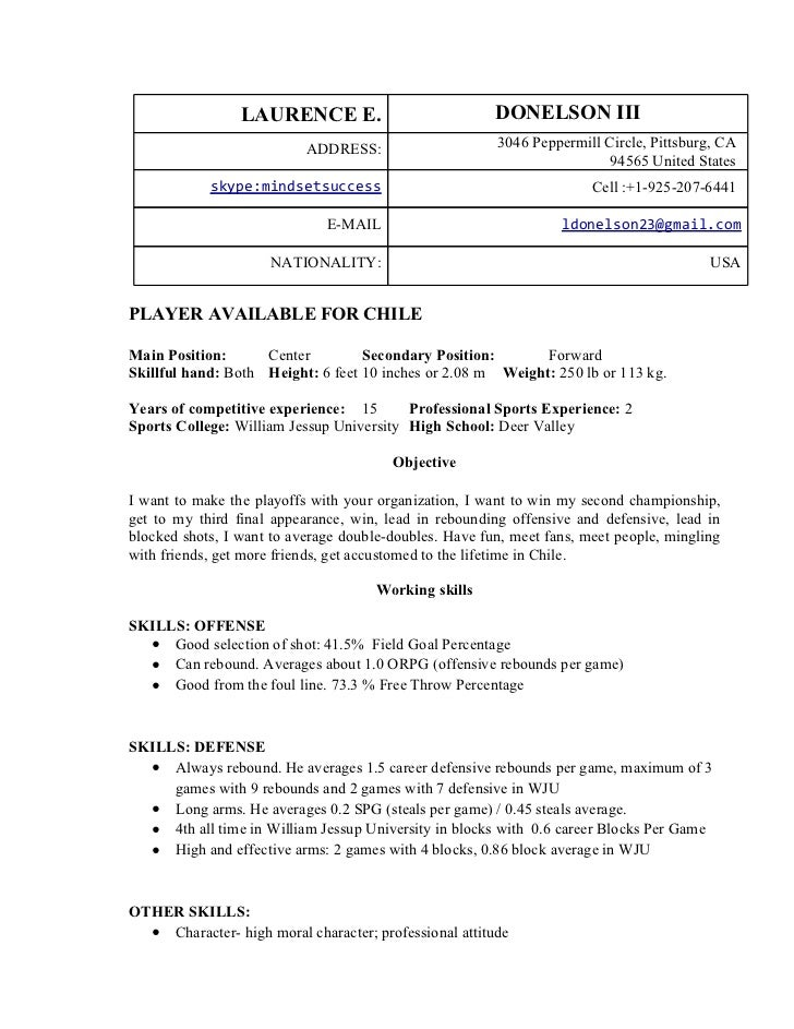 professional basketball player resume template for iii