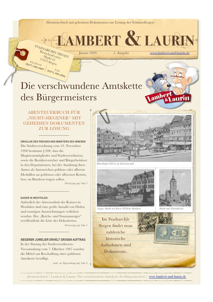 Abenteuerbuch mit geheimen Dokumenten zur Lösung der Schlüsselfragen            STA                DTA                Krö ...