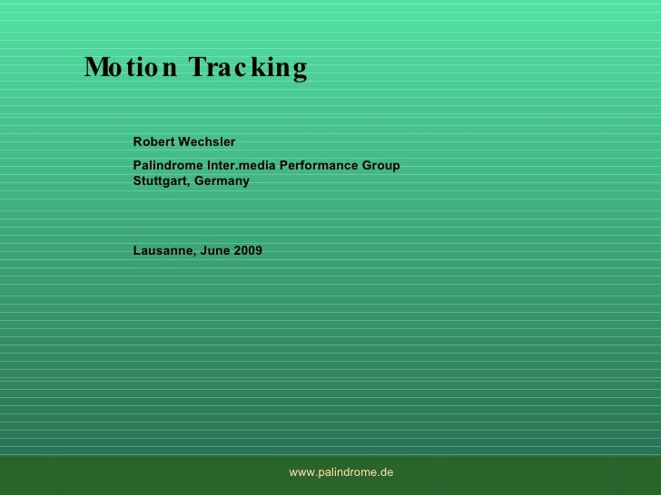 Introduction to Motion Tracking to  Dance
