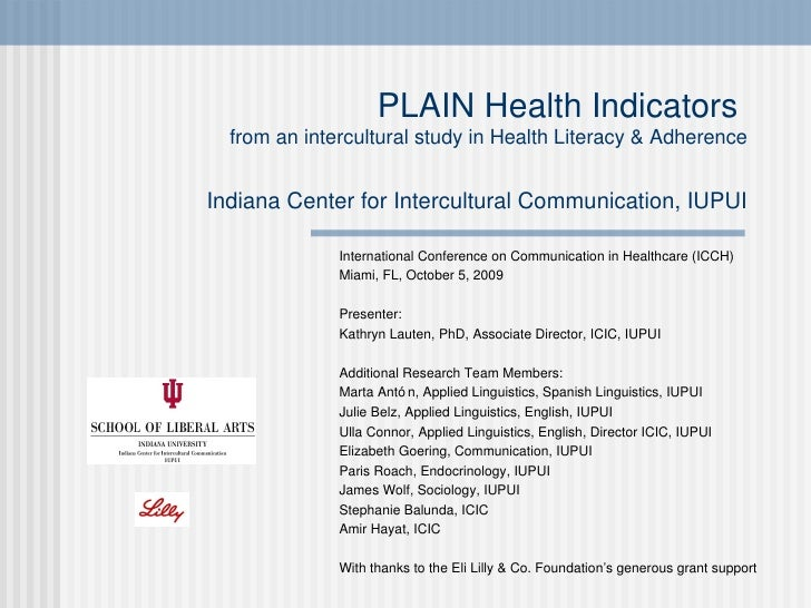 PLAIN Health Indicators from an intercultural study in Health Literacy & Adherence by Lauten