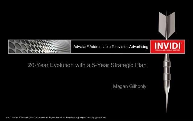 Advatar® Addressable Television Advertising  20-Year Evolution with a 5-Year Strategic Plan  Megan Gilhooly  ©2013 INVIDI ...