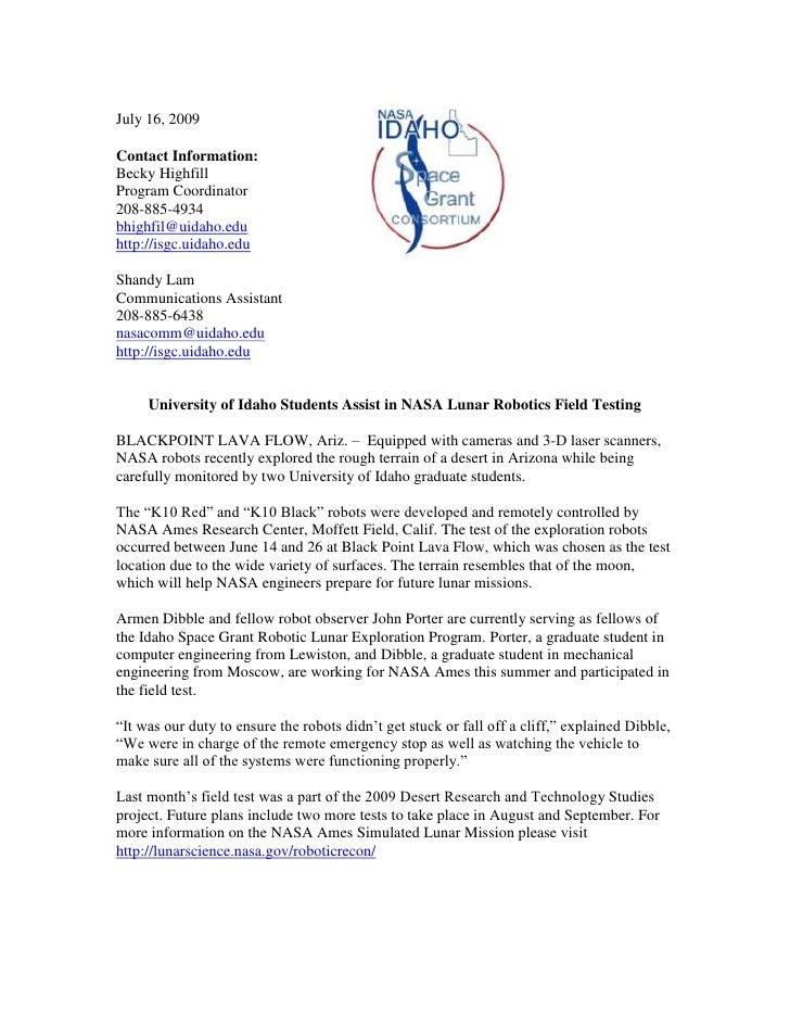 Lava Flow Robot Simulated Mission Press Release