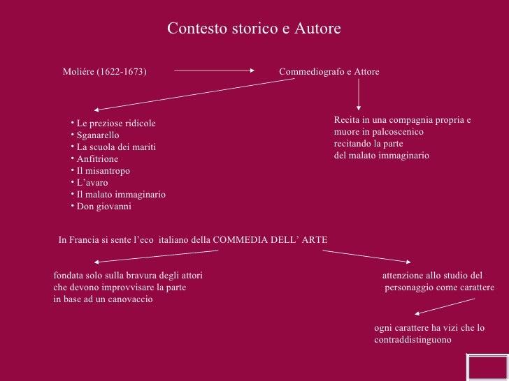 Contesto storico e Autore Moliére (1622-1673) Commediografo e Attore <ul><li>Le preziose ridicole </li></ul><ul><li>Sganar...