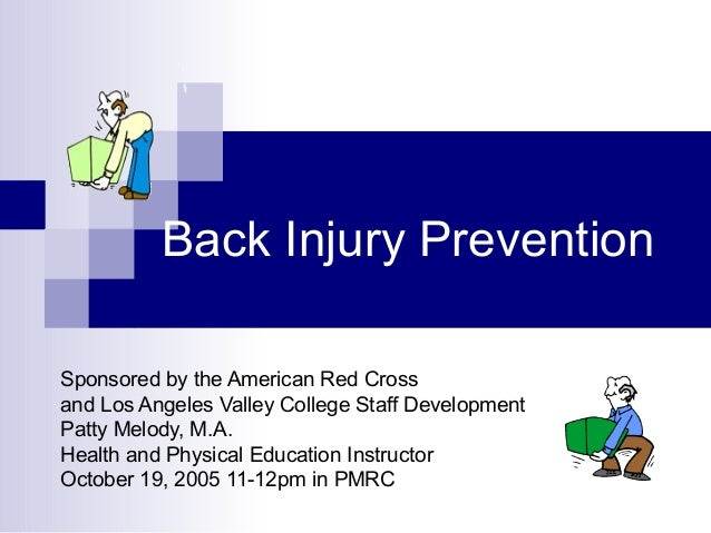 Back Injury Prevention Sponsored by the American Red Cross and Los Angeles Valley College Staff Development Patty Melody, ...