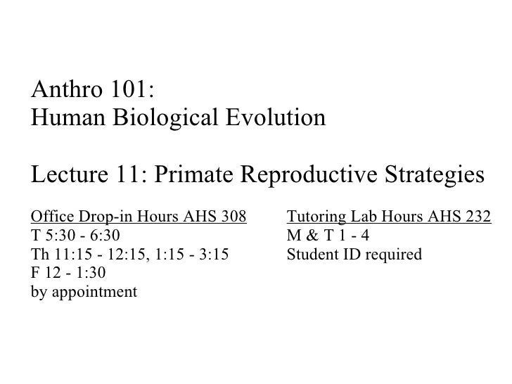 Anthro 101:  Human Biological Evolution Lecture 11: Primate Reproductive Strategies Office Drop-in Hours AHS 308 Tutoring ...