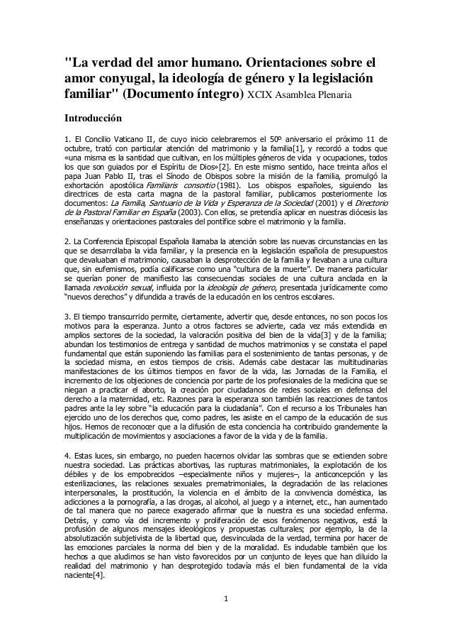 """""""La verdad del amor humano. Orientaciones sobre elamor conyugal, la ideología de género y la legislaciónfamiliar"""" (Documen..."""