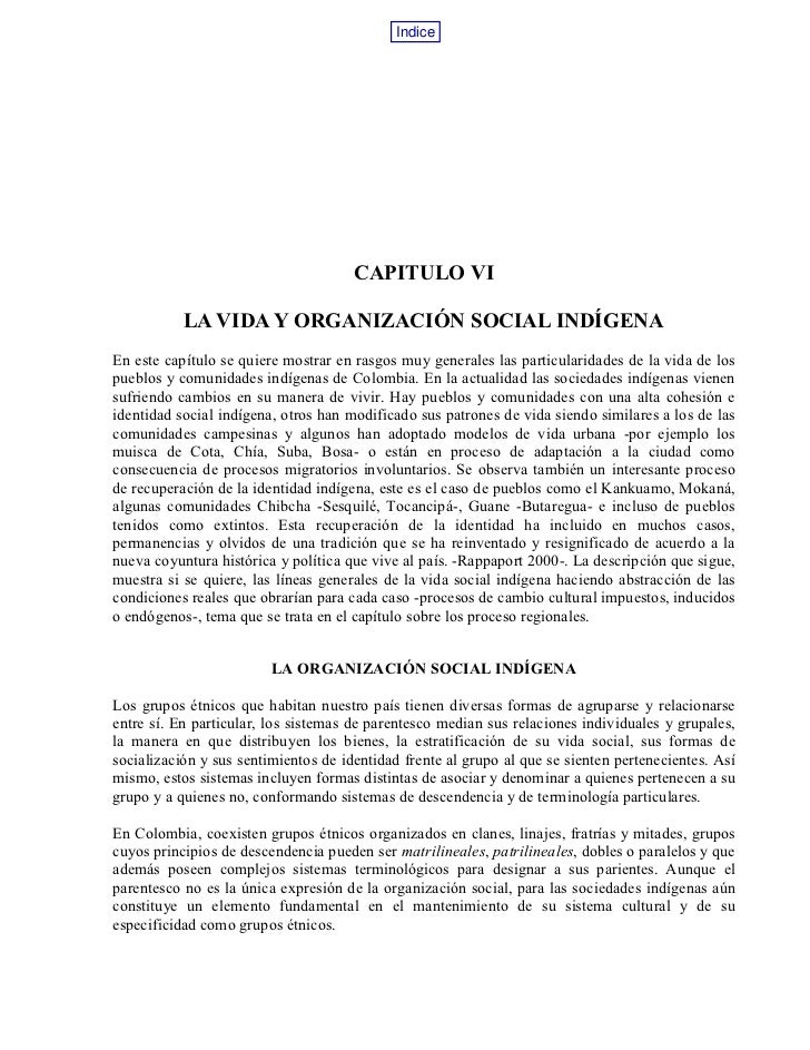 La vida y organización social indígena