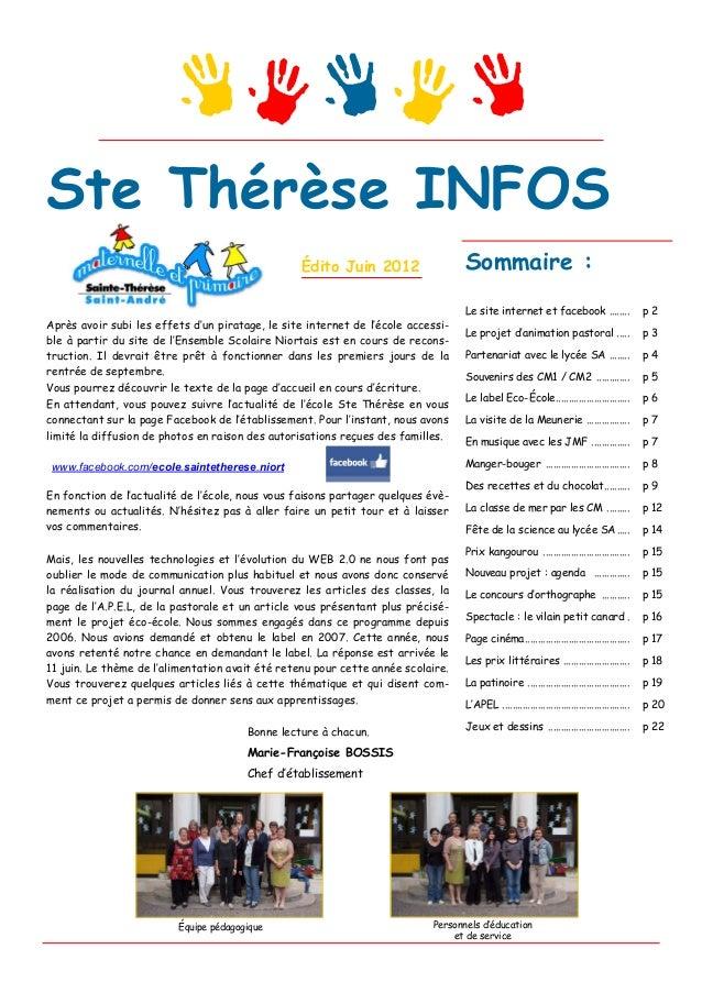 Ste Thérèse INFOS                                                  Édito Juin 2012                 Sommaire :             ...