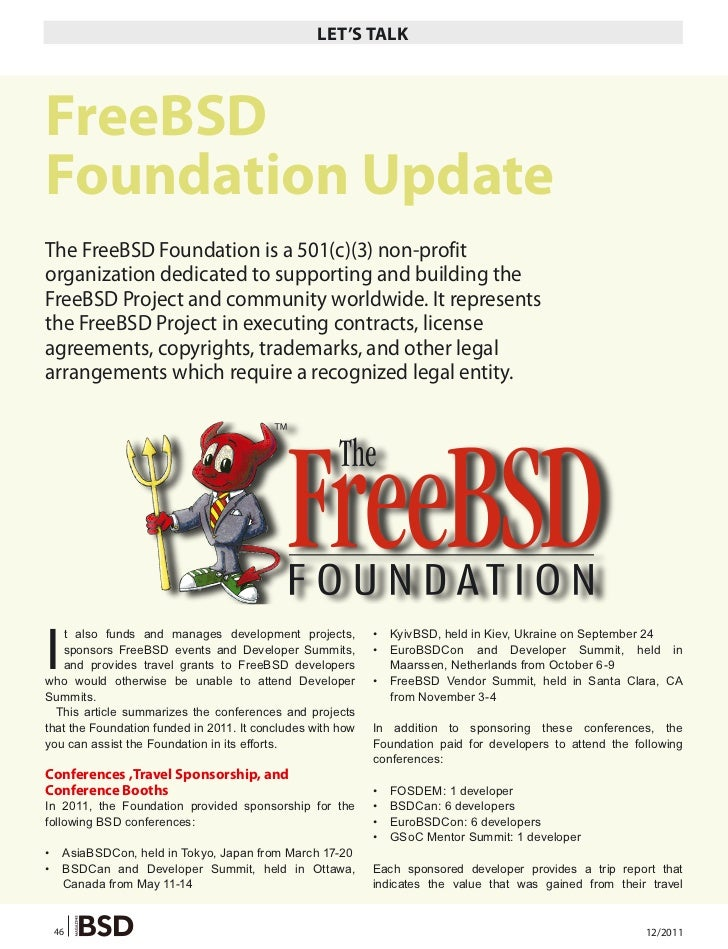 LET'S TALKFreeBSDFoundation UpdateThe FreeBSD Foundation is a 501(c)(3) non-profitorganization dedicated to supporting and...