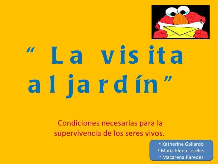 """"""" L a v is it aa l ja r d ín """"   Condiciones necesarias para la  supervivencia de los seres vivos.                        ..."""