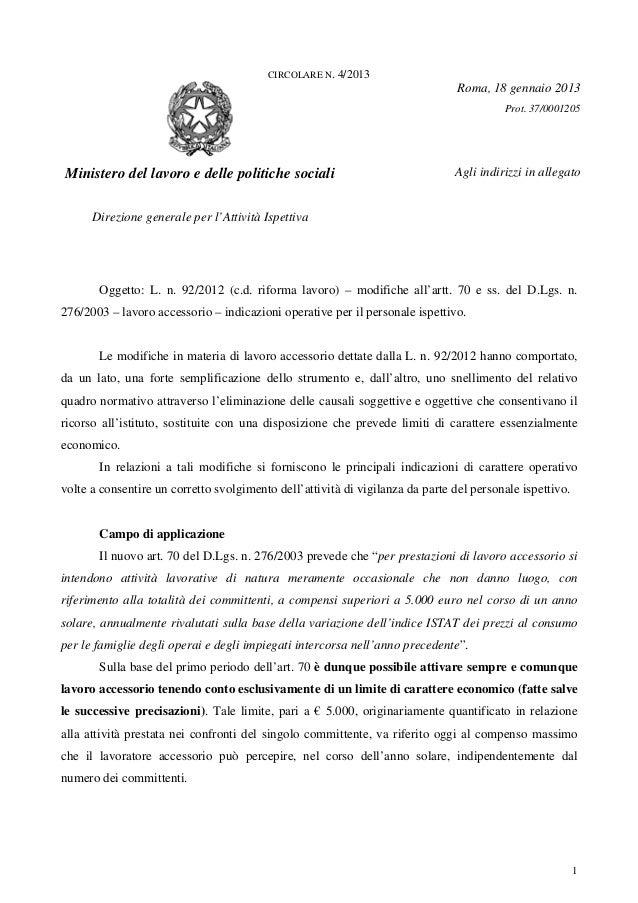 1CIRCOLARE N. 4/2013Roma, 18 gennaio 2013Prot. 37/0001205Ministero del lavoro e delle politiche socialiDirezione generale ...