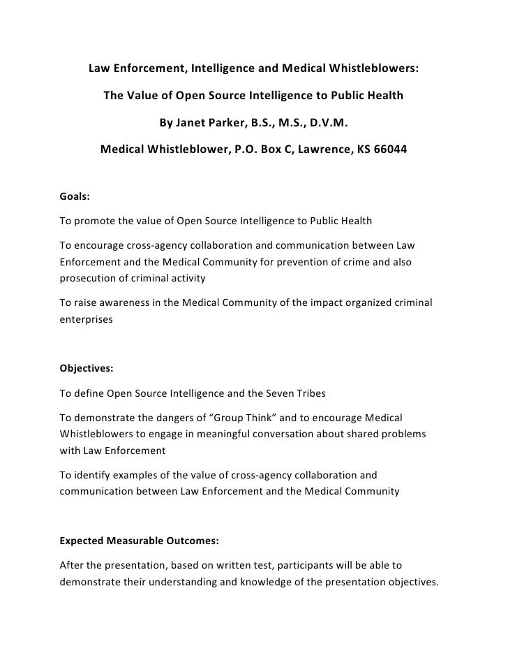 Law Enforcement, Intelligence and Medical Whistleblowers:           The Value of Open Source Intelligence to Public Health...