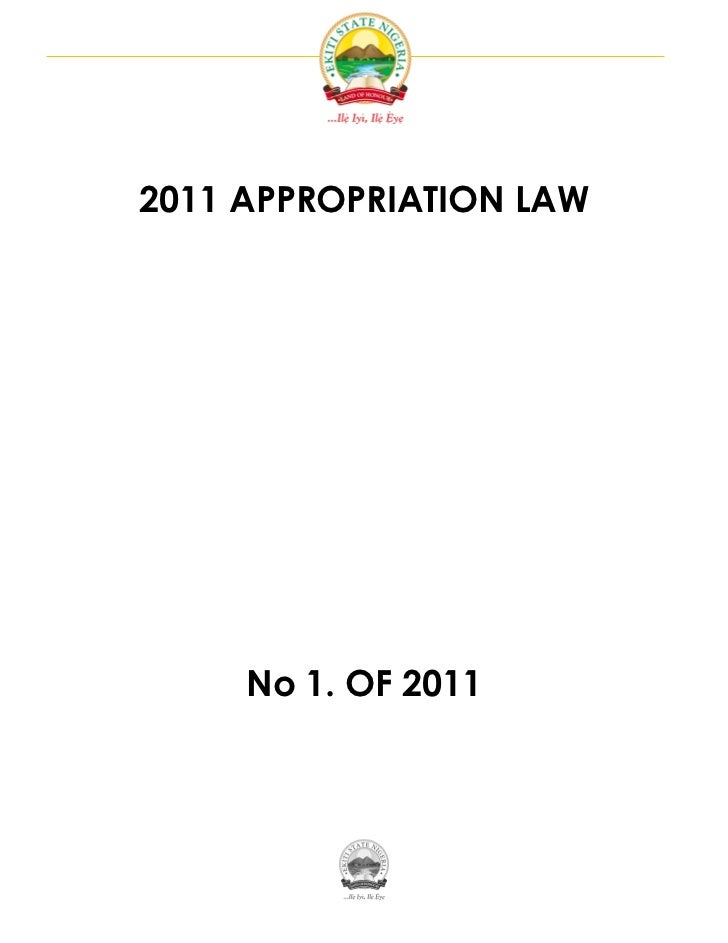 2011 APPROPRIATION LAW     No 1. OF 2011