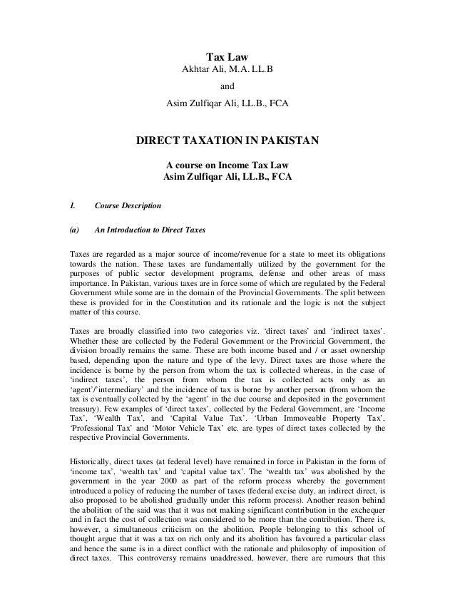 Tax Law                                  Akhtar Ali, M.A. LL.B                                             and            ...