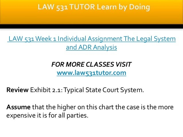 law 531 the legal system and Law 531 the legal system and adr analysis law 531 week 1 alternate dispute resolution alternate dispute resolution law/531 alternative dispute.