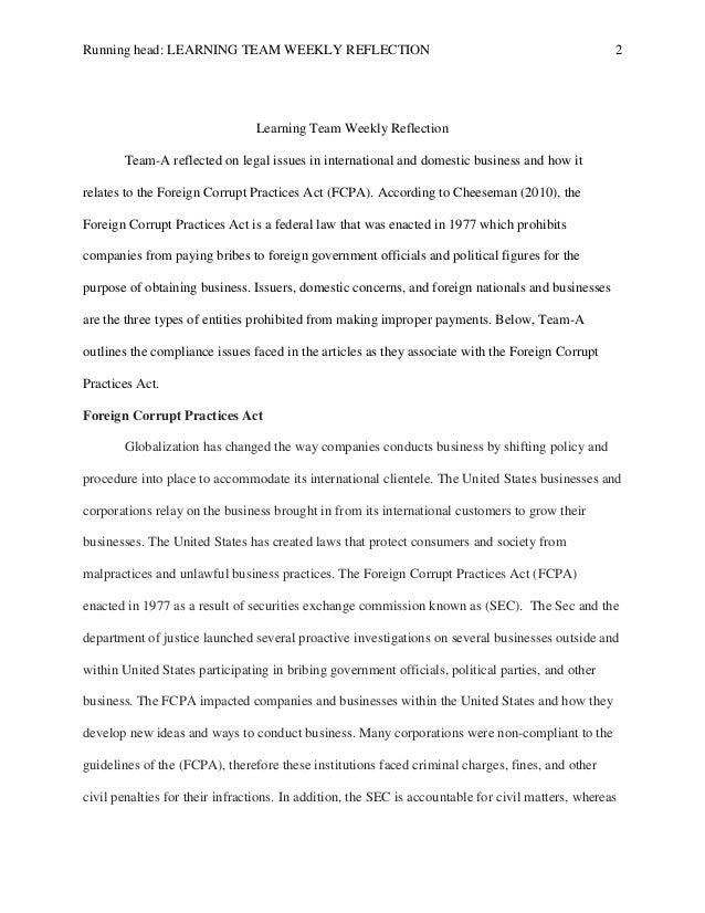 business law wk6 reflection Excerpts from students' final reflection papers this is my final paper of my undergraduate career, and so i have procrastinated to finish something so valuable and significant.