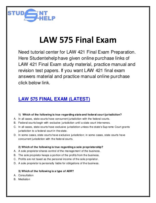 Business law final exam essays