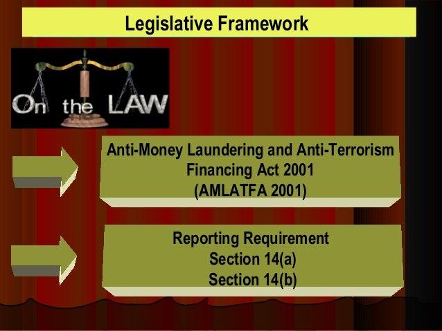 anti-money laundering and anti-terrorism financing act 2001 pdf