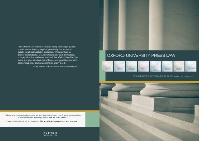 'The Oxford law online resources bring users high-quality content from leading experts, providing fast access to reliable ...