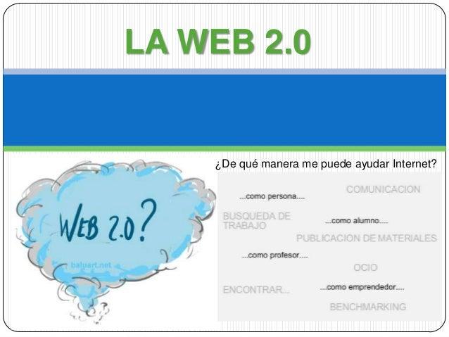LA WEB 2.0    ¿De qué manera me puede ayudar Internet?