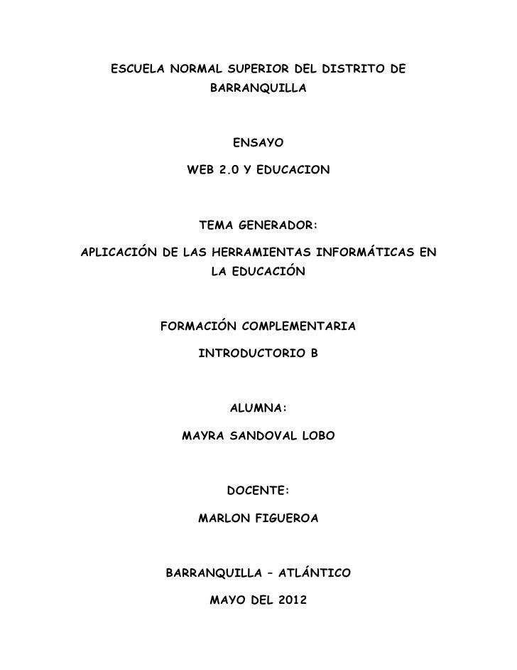ESCUELA NORMAL SUPERIOR DEL DISTRITO DE                BARRANQUILLA                   ENSAYO             WEB 2.0 Y EDUCACI...