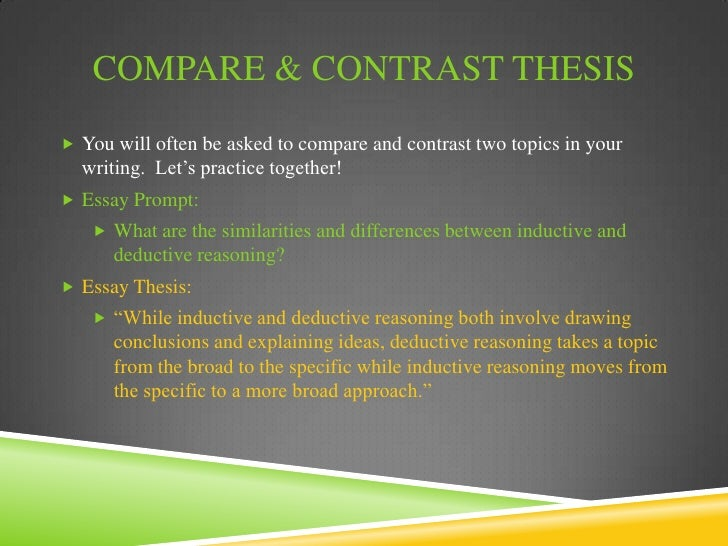 comparison contrast thesis statements