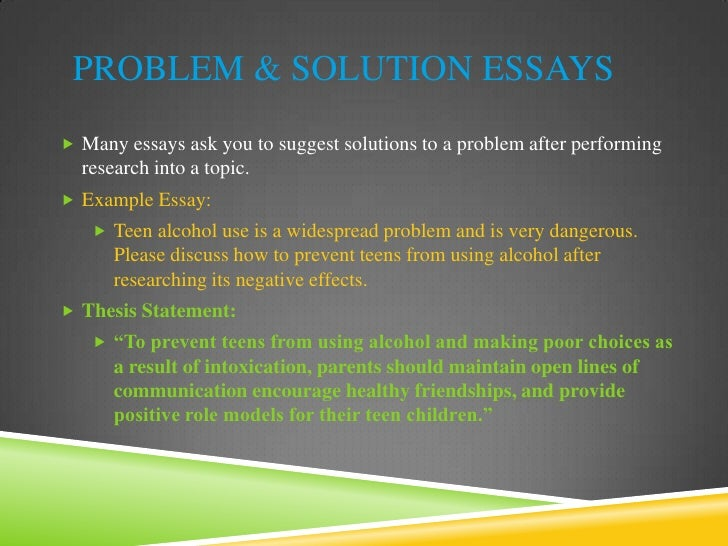 problem and solution essay Here's an example for a problem/solution essay or a reasons for problems/solutions essay people naturally resist change in their lives what kind of problems can this cause.