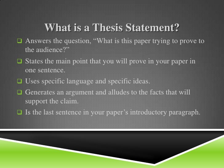 middle school thesis statement A thesis statement is usually one sentence that tells the main point of your piece of writing-research paper, essay, etc the thesis statement is then proven.